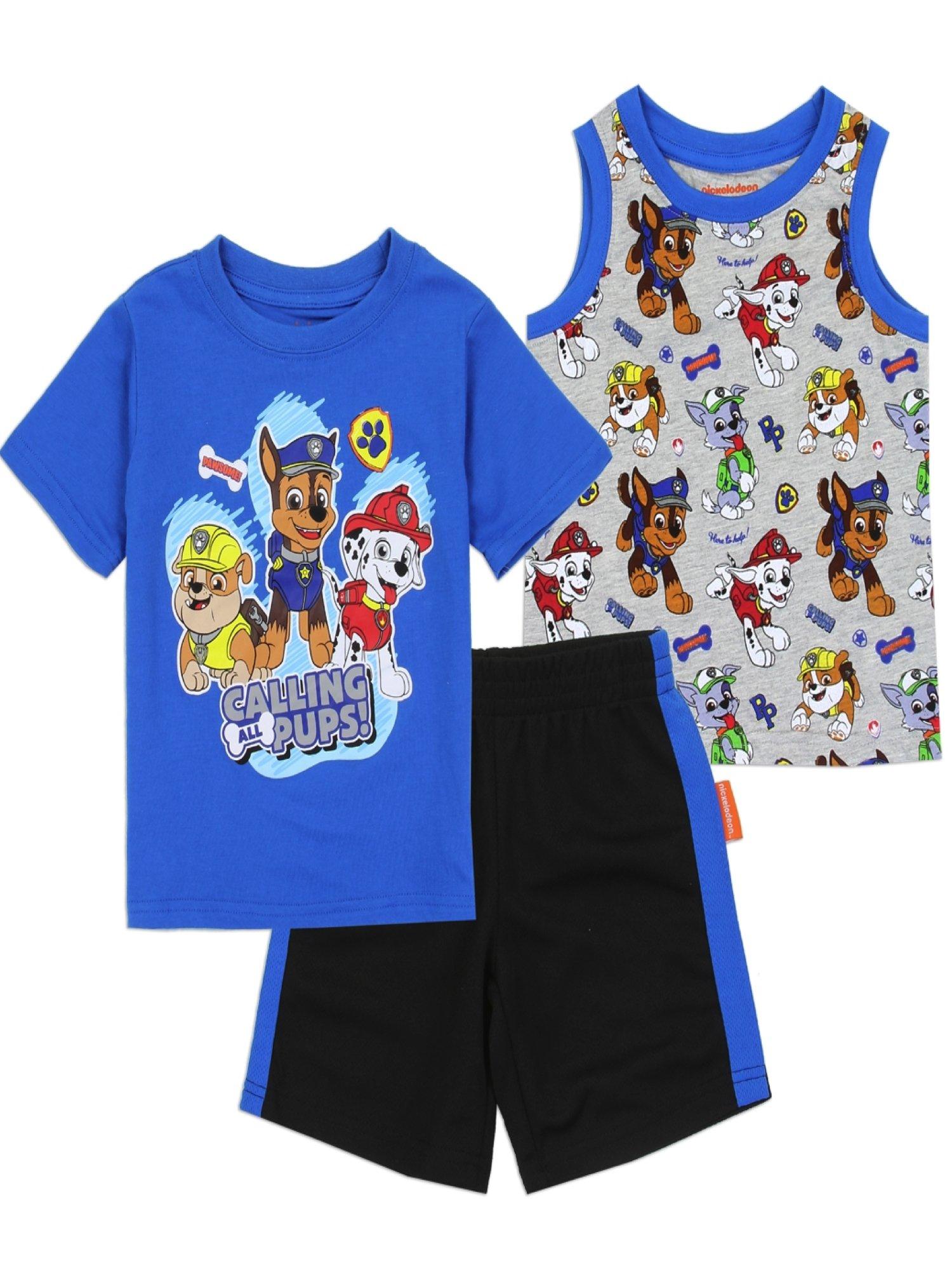 Paw Patrol Toddler Boys' 3PC Short Set, Blue/Gray (US Toddler Boys 3T)