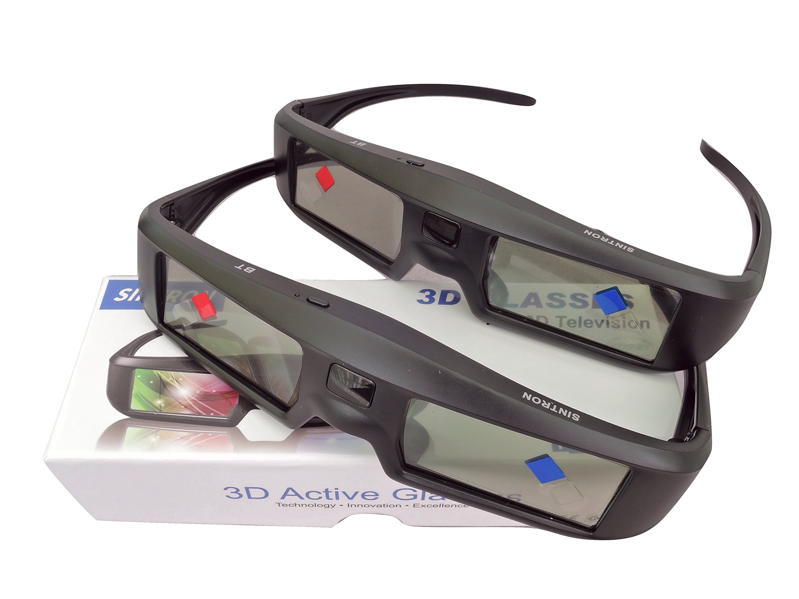 2X 3D Active Shutter Glasses Rechargeable - Sintron ST07-BT for RF 3D TV, 3D Glasses for Sony, Panasonic, Samsung 3D TV, Epson 3D projector, Compatible with TDG-BT500A TDG-BT400A TY-ER3D5MA TY-ER3D4MA by Sintron