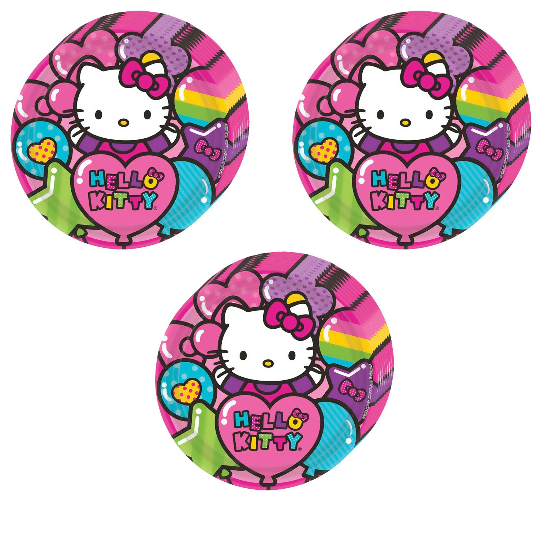Hello Kitty Rainbow Party Dinner Plates - 24 Pieces