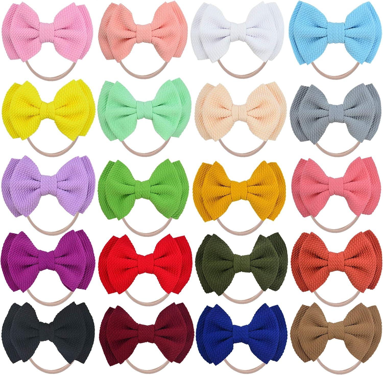 20PCS Big Bows Baby Nylon Headbands Hairbands Hair Bow Elastics for Baby Girls Newborn Infant