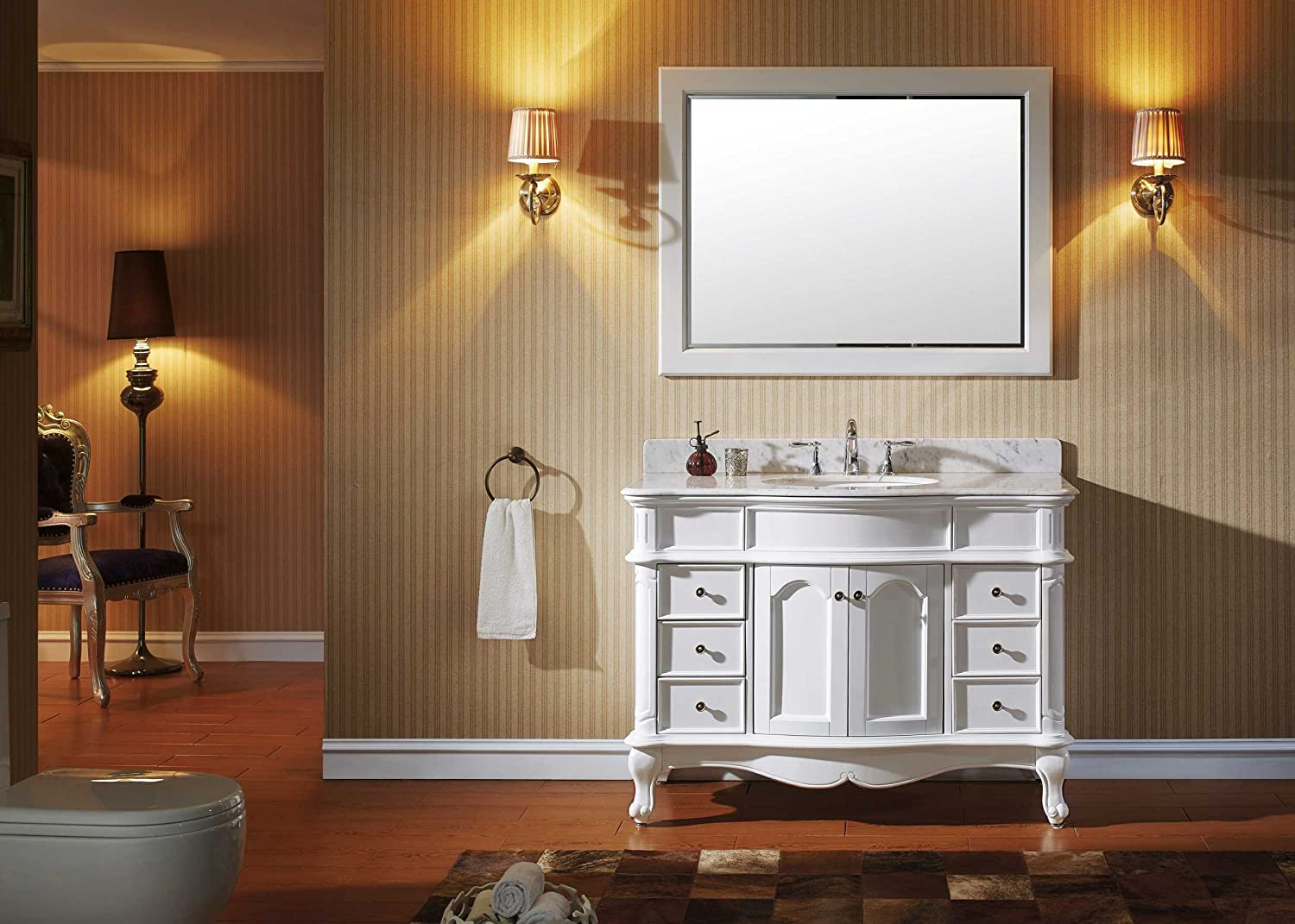 Bathroom vanity with cabinet on top - Virtu Es 27048 Wmro Wh Norhaven Single Bathroom Vanity Cabinet Set 48 White Amazon Com