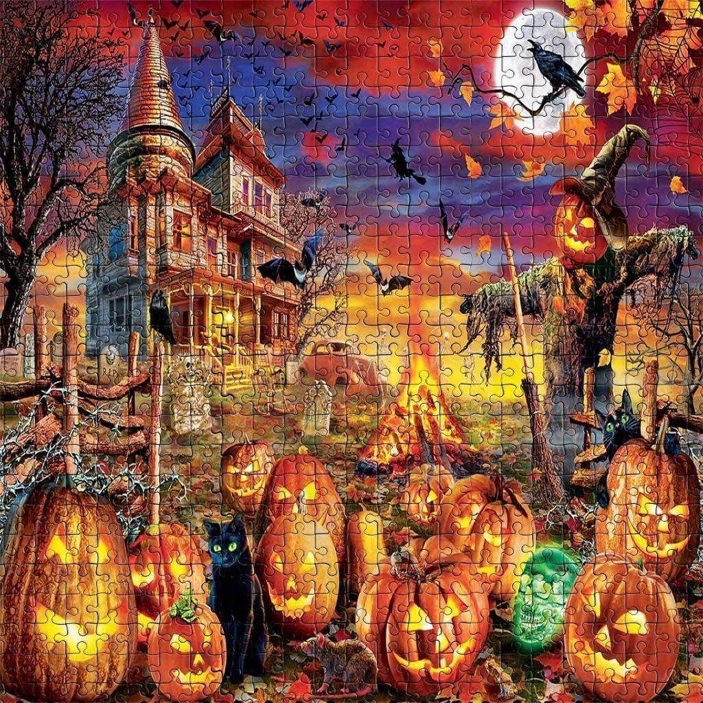 Halloween fo Puzzles ,1000 Piece Halloween Family Decorations Pattern Toy DIY Wall Art Home Decor Jigsaw Puzzles Suitable for Teenagers and Adults,Child (Picture 2)