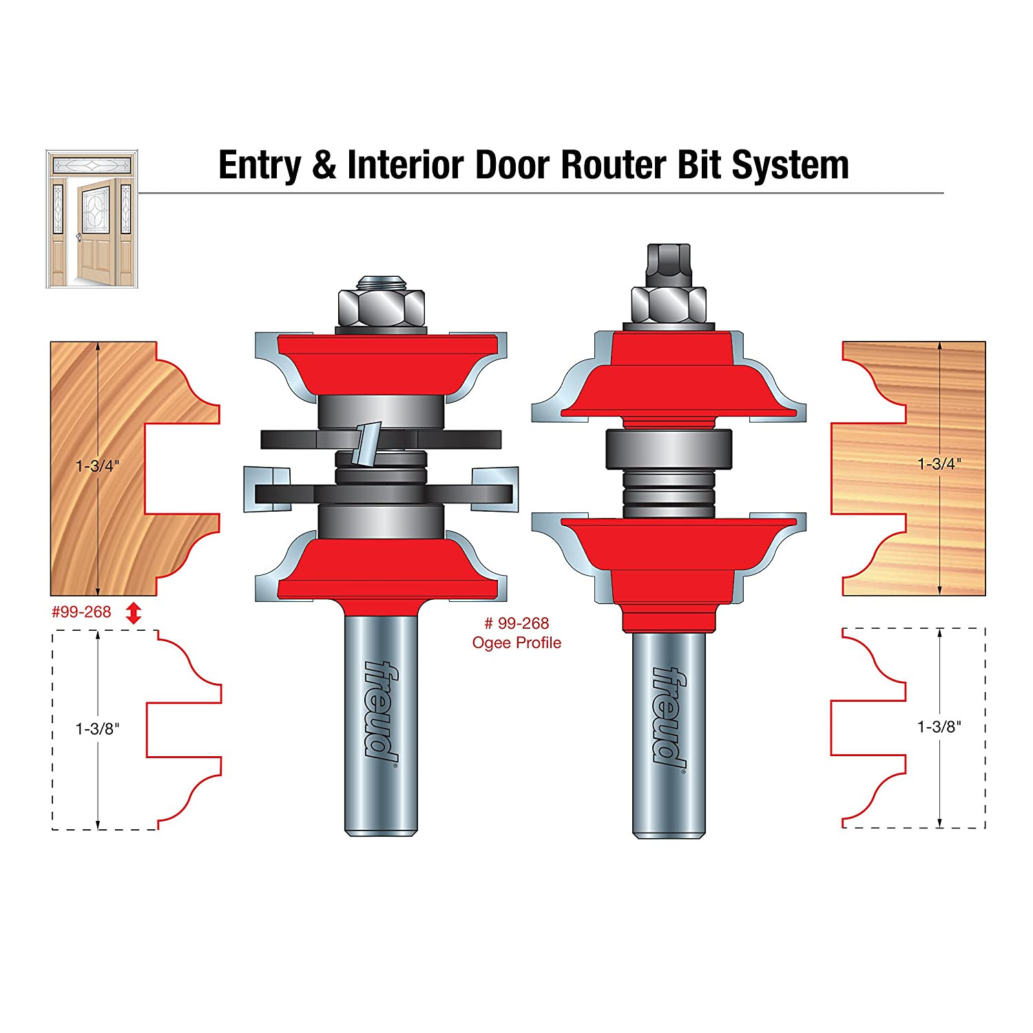 Entry \u0026 Interior Door Router Bit System with 1/2\  Shank (99-268) - Door And Window Router Bits - Amazon.com  sc 1 st  Amazon.com & Freud 1-7/8\