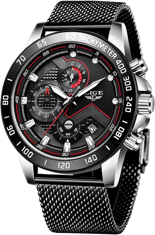 Relojes para Hombres,LIGE Acero Inoxidable Impermeable Reloj Analógico de Cuarzo Cronógrafo Banda de Malla Milanesa Esfera Fecha Moda Casual Relojes de Pulsera