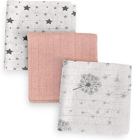 Elfique para Bebé niño Cambio de pañales Sets lavables Juego de 3 pañales capas suaves 100% algodón muselina natural 70x70 BLANCO ROSA con ESTRELLAS y DIENTES: Amazon.es: Bebé