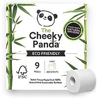 The Cheeky Panda Toalettpapper i bambu förpackning med 9 (3-lager, 200 ark) Allergivänlig, plastfri, miljövänlig…