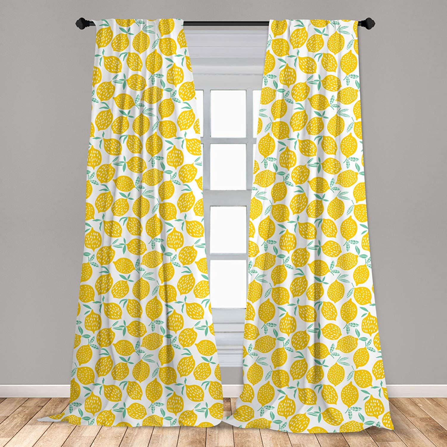Lunarable Mint And Yellow Window Curtains Summer Fruit Pattern With Dots Stripes Doodle Lemons And Leaves Lightweight Decorative Panels Set Of 2 With Rod Pocket 56 X 84 Mint Green Home