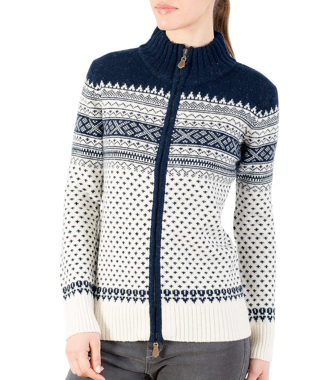Womens Lambswool Fairisle Zip Through Cardigan