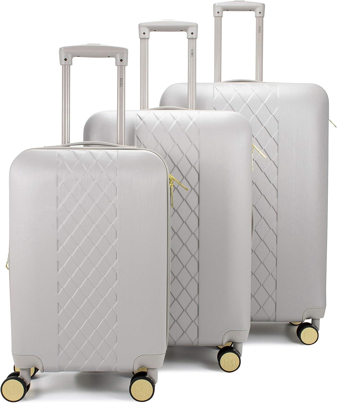 Badgley Mischka Diamond Hard Expandable Spinner Luggage Set 3 Piece Grey
