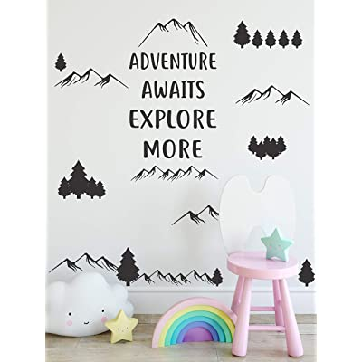 Adventure Awaits Explore More Wall Decal by Wallency Removable Vinyl Sticker (Black): Arts, Crafts & Sewing