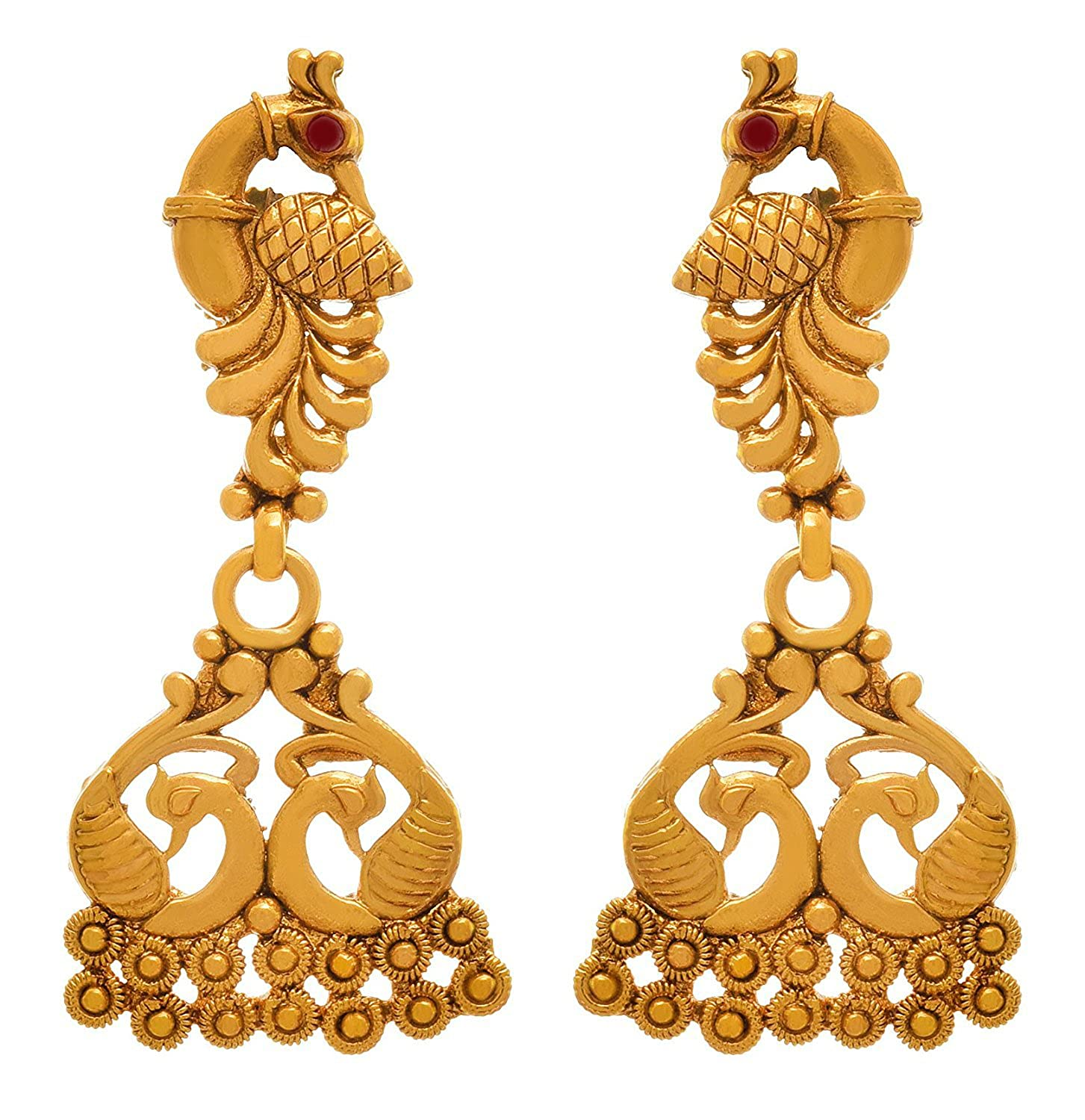 643f110d7 Buy Bfc Traditional One Gram Gold Plated Peacock Designer Earring For Woman  And Girls Online at Low Prices in India | Amazon Jewellery Store - Amazon.in