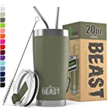 New Beast Tumbler 不锈钢真空绝缘羊咖啡杯双壁旅行瓶 军绿色 20 OZ 43219-71008