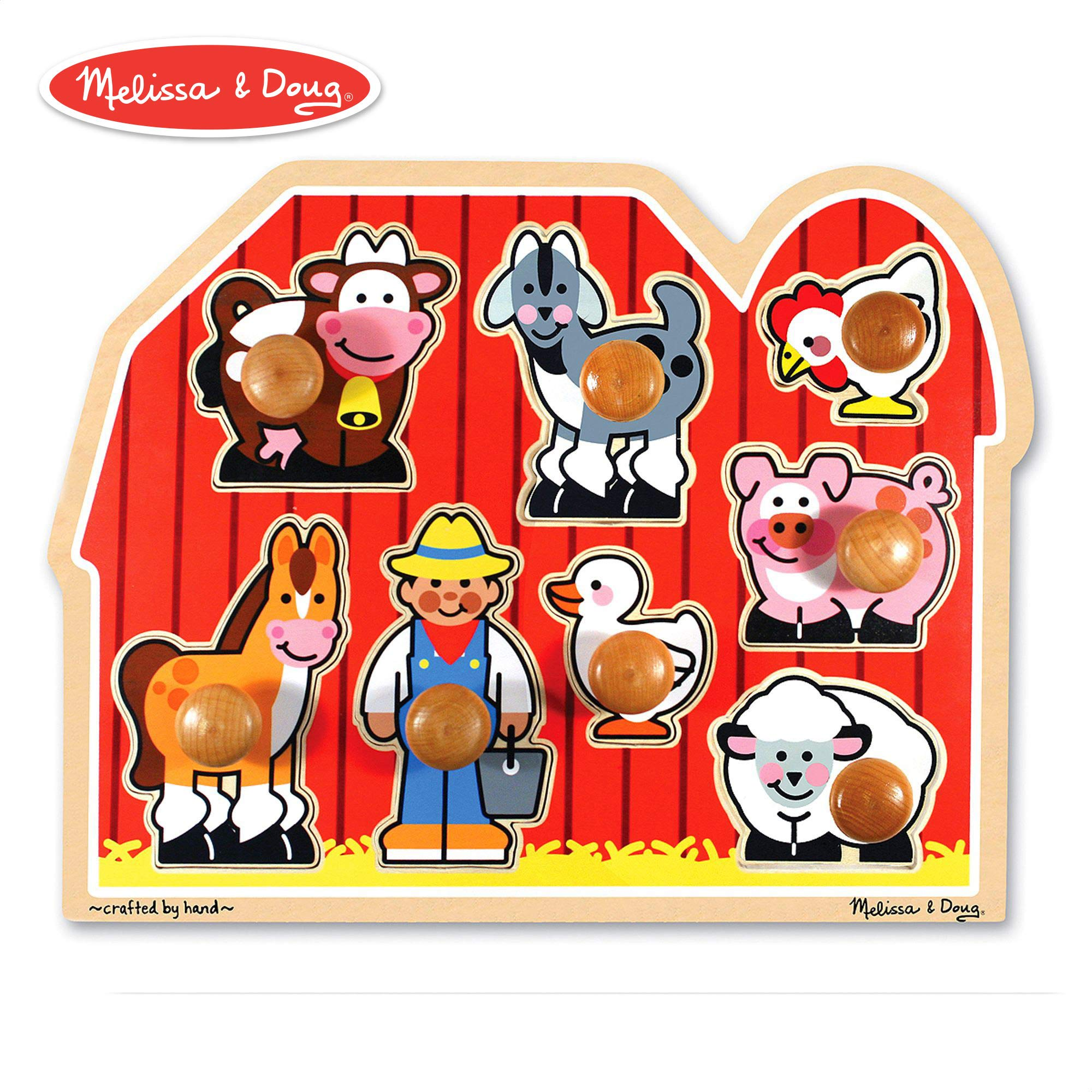 Melissa & Doug Large Farm Jumbo Knob Puzzle, Colorful Farm Artwork, Extra-Thick Wooden Construction, 8 Pieces, 1.5'' H x 12'' W x 15.5'' L by Melissa & Doug