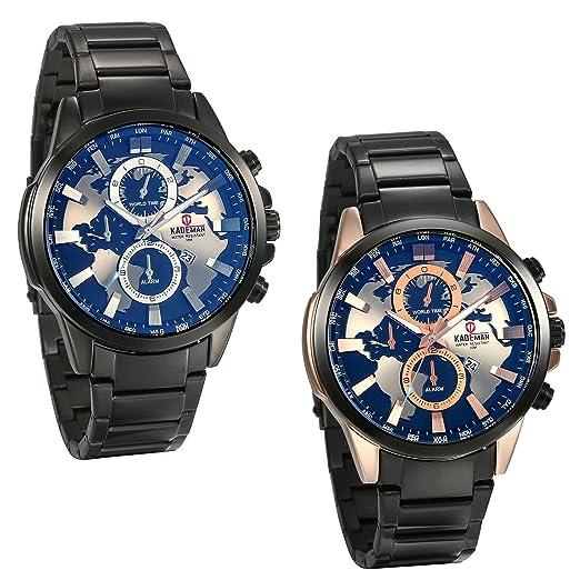 Reloj de pulsera de hombre grande, dibujo Mapa del mundo, de acero inoxidable, color negro/Rosaoro - JewelryWe Paquete de 2: Amazon.es: Relojes
