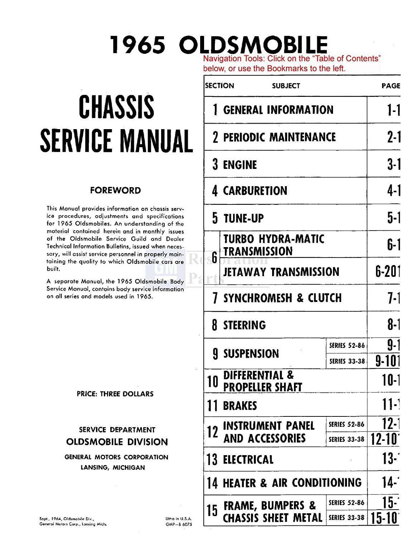 1965 Oldsmobile 98 88 442 Cutlass F85 Shop Service Olds Wiring Diagram Repair Manual Engine Oem Automotive
