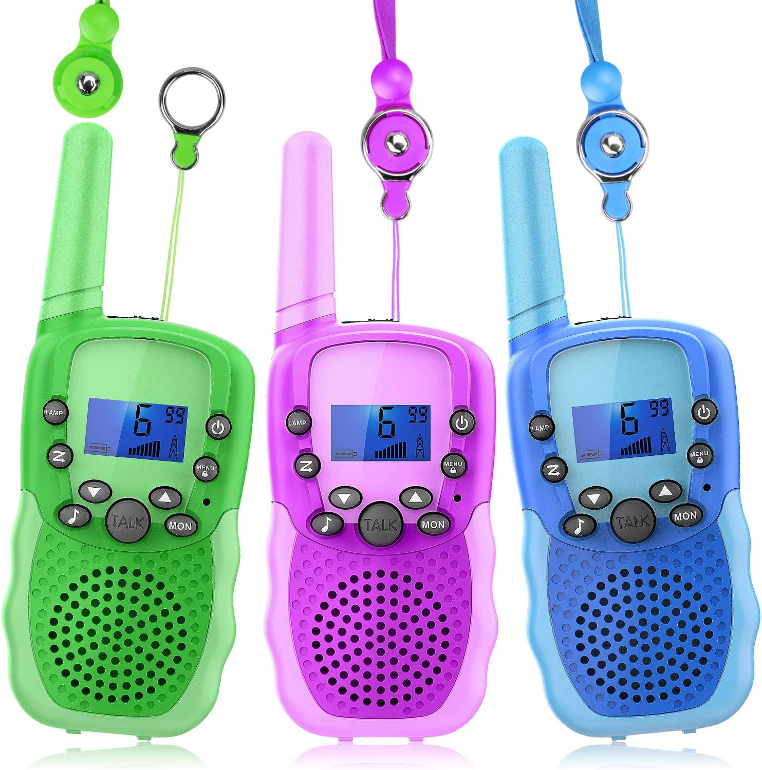 Wishouse Wearable Walkie Talkies 3 Pack for Kids Boy Girl,Two Way Radio Long Range with Detachable Lanyard Flashlight,Outdoor Camping Games Halloween Cosplay Toy Xmas Birthday Gift for Children