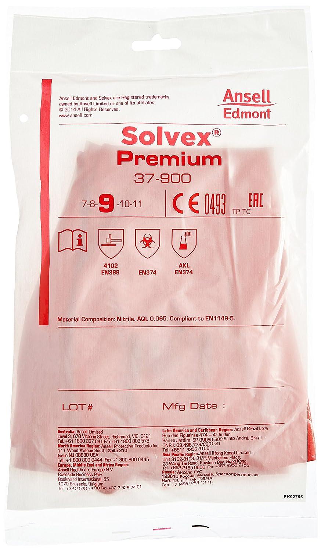 Ansell 37-900//7 Solvex Nitrilo guante Rojo Protecci/ón contra productos qu/ímicos y l/íquidos Tama/ño 7 bolsa de 12 pares