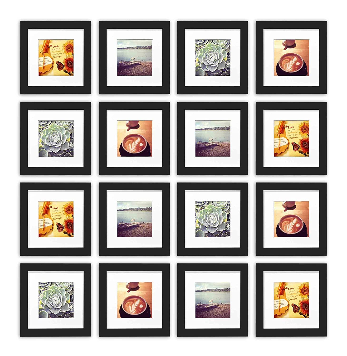 White Smartphone Instagram Frames Collection 6x6-inch Square Photo Wood Frames with White Photo Mat /& Real Glass for 4x4 Photo Golden State Art Set of 16