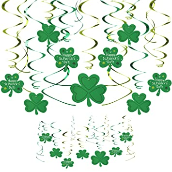 St.Patricks Day Shamrock Decorations,3m Lucky Irish Green Shamrock Perfect for Hanging Ceiling Window Wall Party Decor Supplies,Lucky Irish Party Hanging Ornaments Garland