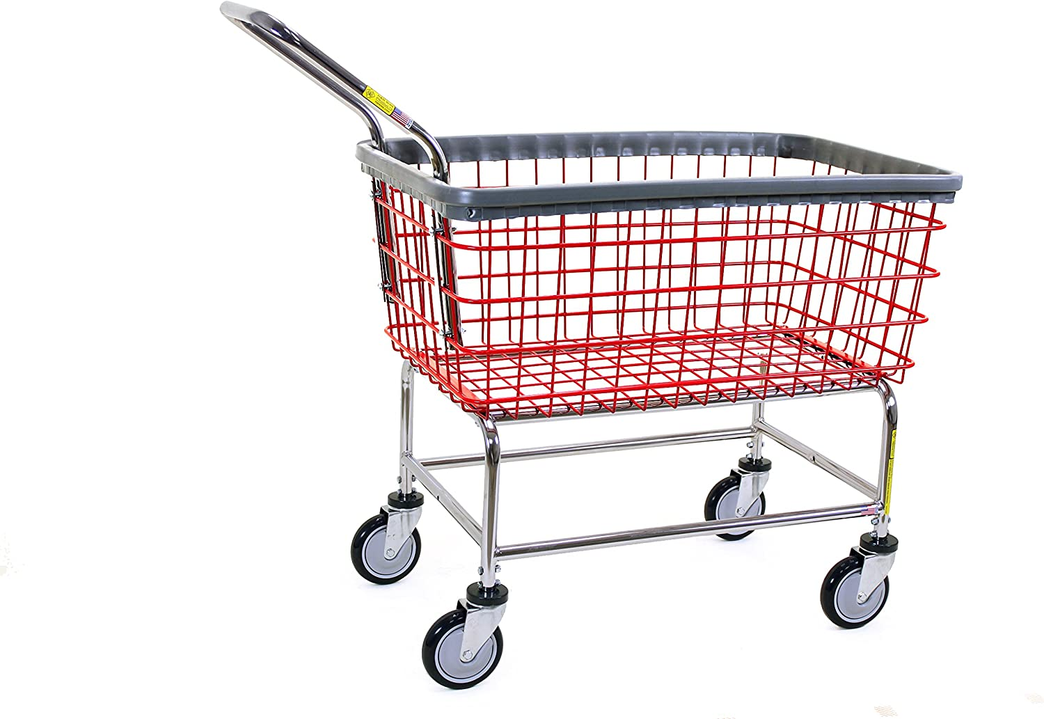 R&B Wire 200F Large Capacity Wire Rolling Laundry Cart with Clean Wheel System and Handle - Red Basket