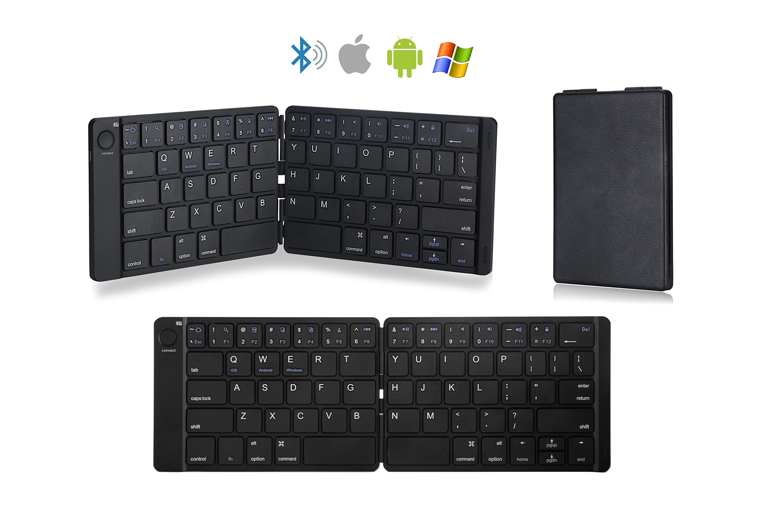 Arkscan KB21 Foldable Wireless Keyboard Mini Pocket Size for iOS/iPad / iPhone, Android, Windows, PC, Tablet, Smartphone, Apple TV, PS4 & other devices w/Bluetooth, Rechargeable & Portable