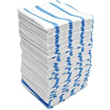 Viking Car Care White/Blue Stripe Bulk Edgeless Microfiber Cleaning Cloths, 50 Pack