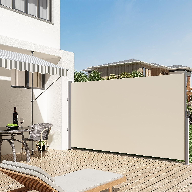Store lat/éral pour Balcon Terrasse Brise-Vue Pare-Soleil Beige GSA165E SONGMICS 160 x 350 cm H x L