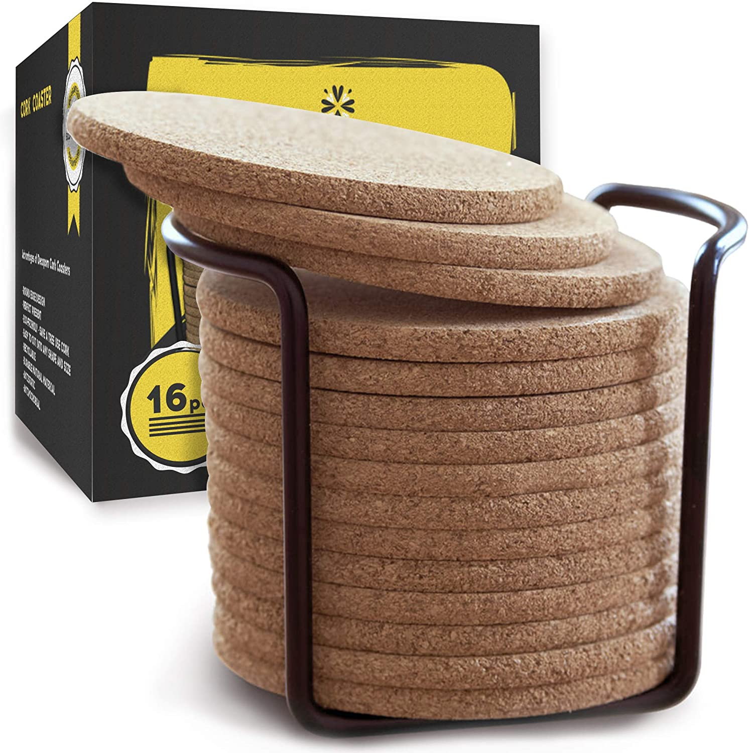 Cork Coasters with Round Edge 4 inches 16pc Set with Metal Holder Storage Caddy – Thick Plain Absorbent Heat-Resistant Reusable Saucers for Cold Drinks Wine Glasses Plants Cups & Mugs
