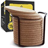Cork Coasters with Round Edge 4 inches 16pc Set with Metal Holder Storage Caddy – Thick Plain Absorbent Heat-Resistant…