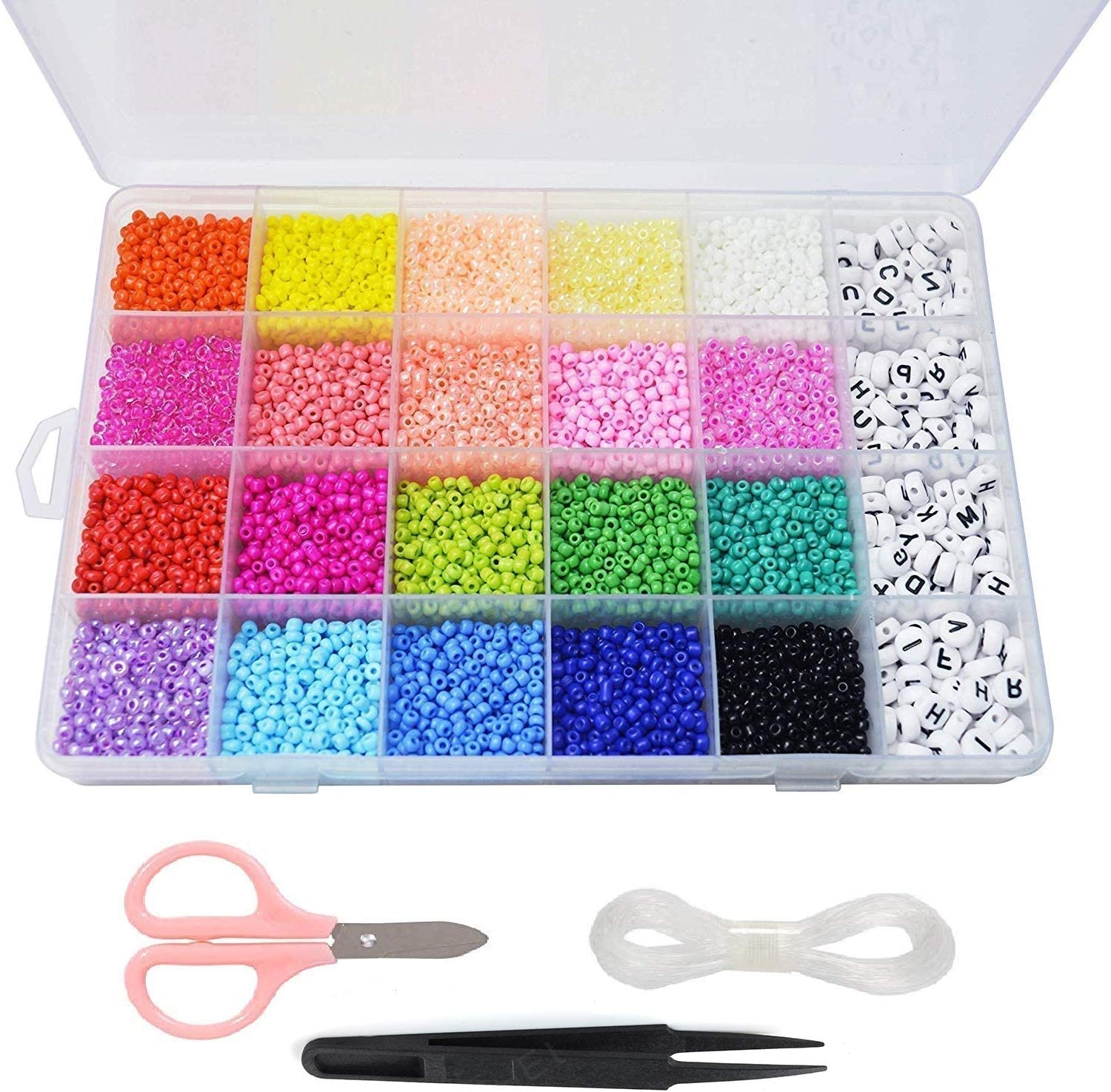 Beads Kit 10000pcs Glass Seed Beads 3mm Beads and 300pcs Alphabet Letter Beads for Name Bracelets Jewelry Making and Crafts, with 33 Feet Long Elastic String Cords,Scissors,Tweezers and Storage Box