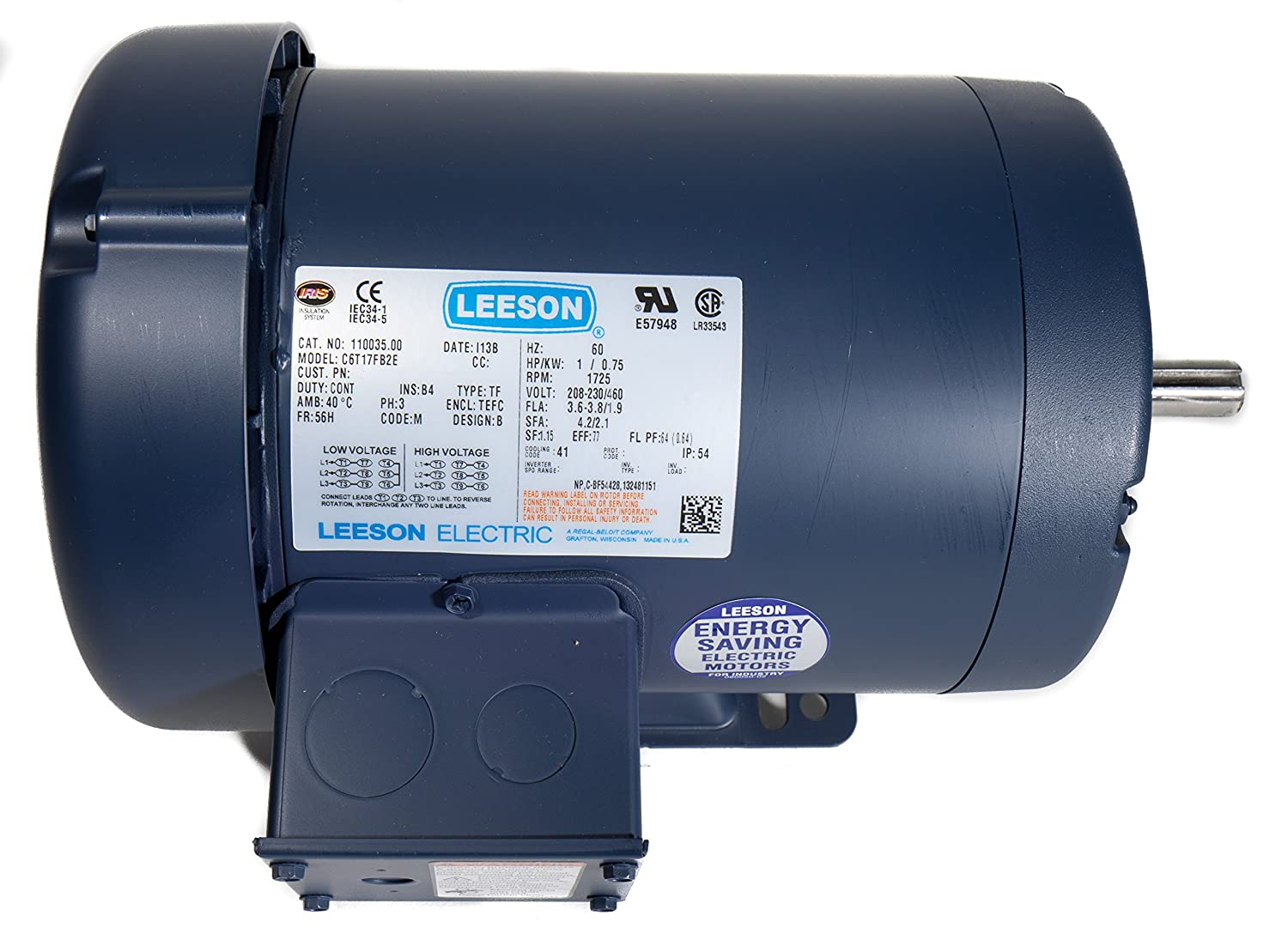 Leeson 113029.00 Jet Pump Motor Rigid Mounting 56J Frame 3600 RPM 1HP 3 Phase 208-230//460V Voltage 60Hz Fequency C6T34FK35 E