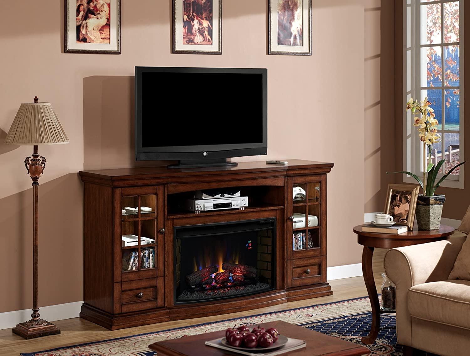 Pecan (Electric Fireplace Insert sold separately): Kitchen & Dining