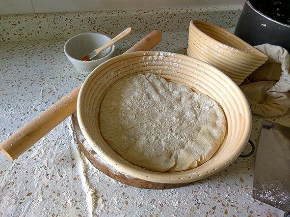 DaoRier G/ärtopf f/ür Brotteig 18cm rund im traditionellen Ratan-Banneton-Stil natur