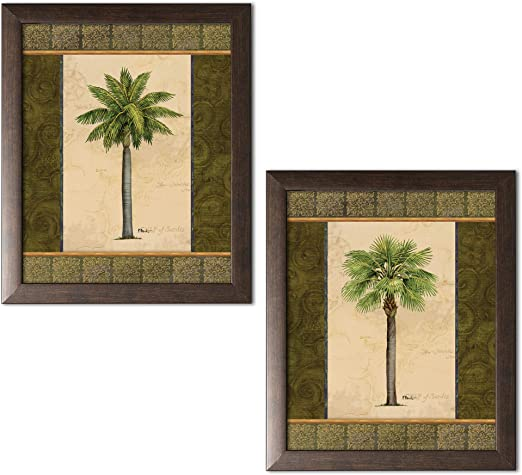 Palm Trees and Botanical Plants Framed in Brown WALLPAPER BORDER