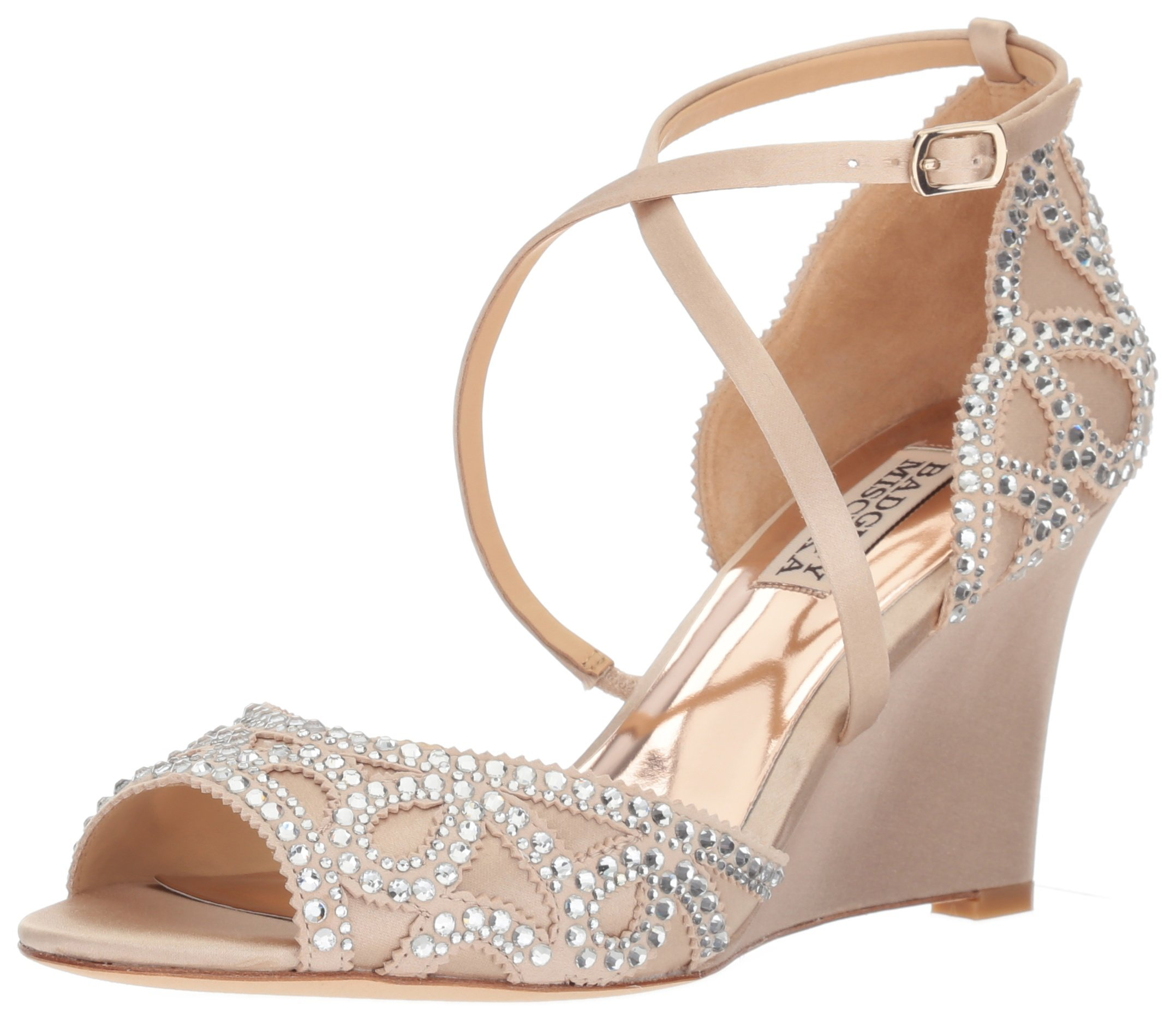 Badgley Mischka Women's Winter Wedge Sandal, Nude, 9.5 M US