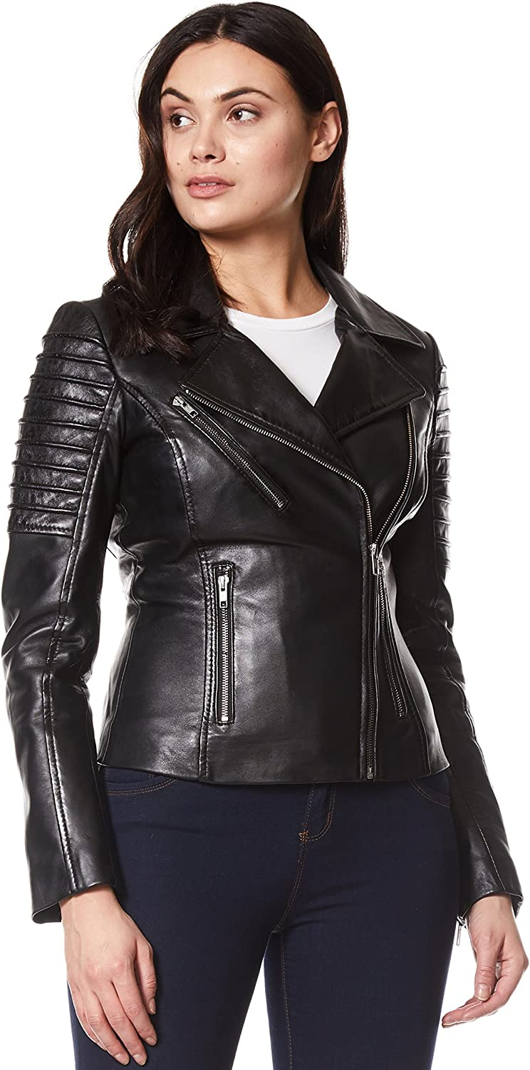 Luxury Ladies Stylish Jacket Black Real Italian Nappa Leather Biker Style Design