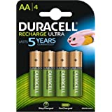 Duracell 2500mAh Pre Charged Rechargeable AA Batteries, 4 Batteries