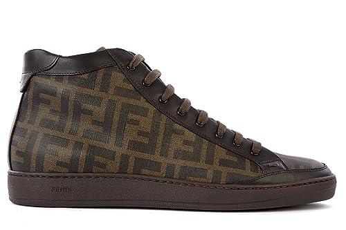 Nuove Amazon Scarpe Pelle Alte Marrone Uomo Fendi In it Sneakers xnH7YwqnF8
