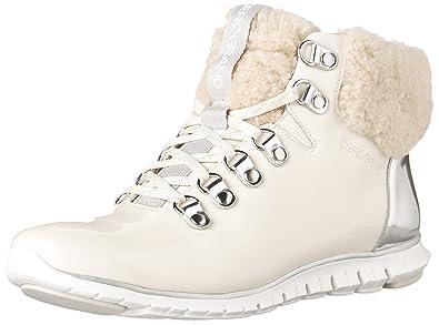 34fcec4d44 Cole Haan Womens ZEROGRAND Waterproof Hiker Boot 8 Optic White Waterproof  Patent-silver Spe