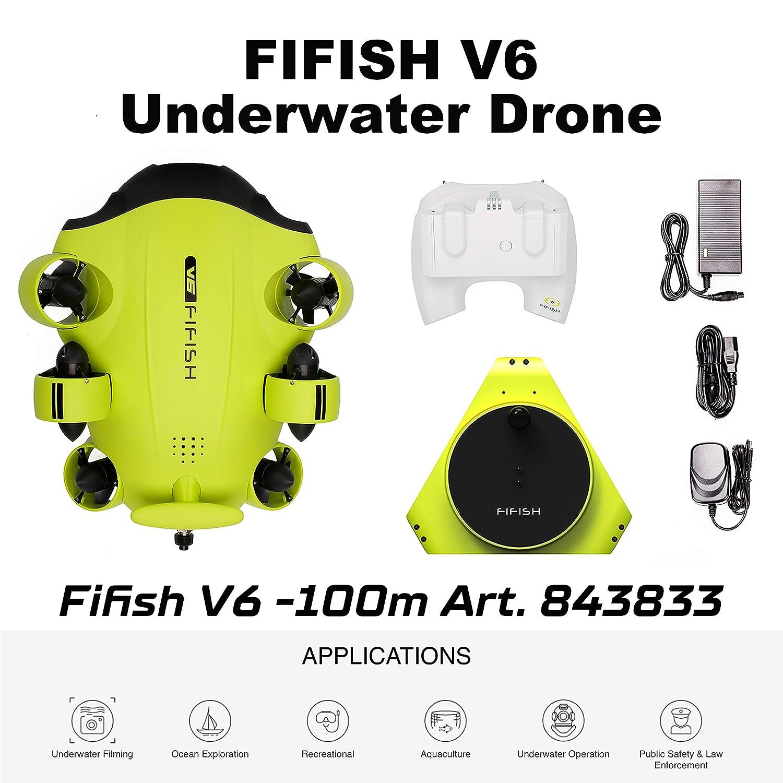 Fifish Dron Submarino Cámara V6 QYSEA Amplio Ángulo 162˚ 6 ...