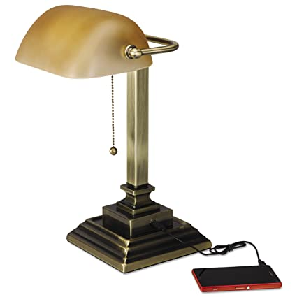 Alera ALELMP517AB Traditional Bankeru0027s Lamp W/USB, 16u0026quot; High, Amber  Glass Shade