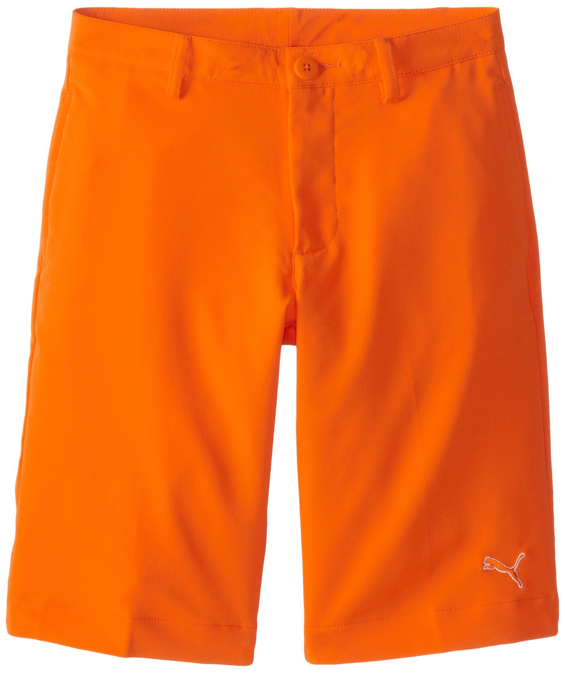 Puma Golf Boys Junior Tech Shorts, Vibrant Orange, X-Large