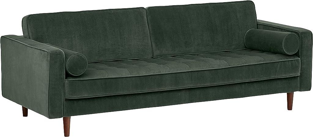 Rivet Aiden Tufted Mid-Century Modern Velvet Bench Seat Sofa Couch, 86.6