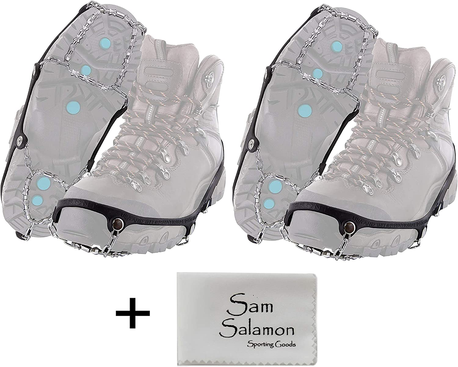 Yaktrax Diamond Grip All-Surface Traction Cleats for Walking on Ice and Snow (2 Pair) w/Micro Sam Salamon Cloth