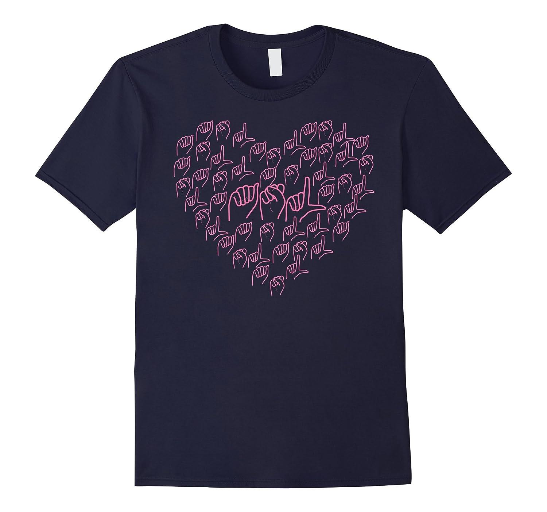ASL Pink Sign Language Heart Love Shape Shirt-TH