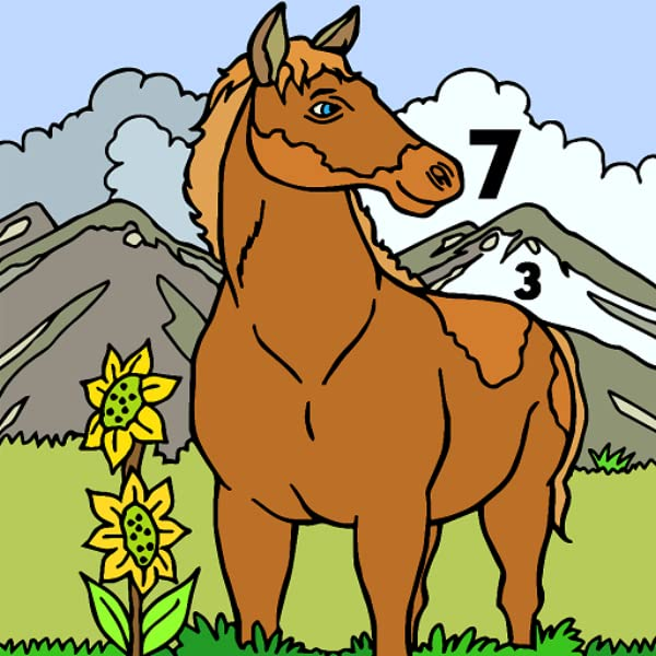 Amazon.com: Horse Color By Number Book - Animals Grownups Paint + Glitter +  Crayon Coloring Pages: Appstore For Android
