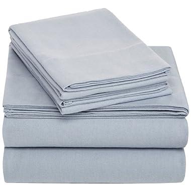 Pinzon Cotton Flannel Bed Sheet Set - Queen, Dusty Blue