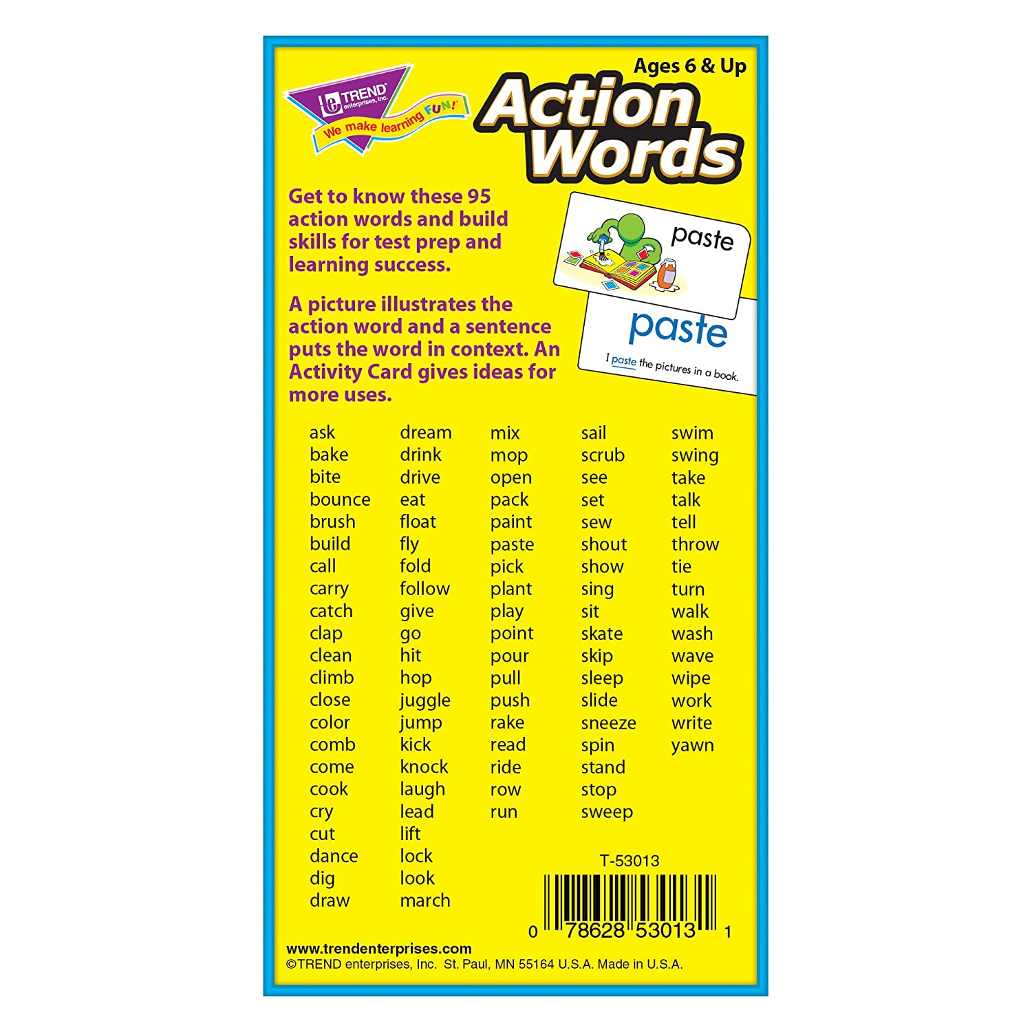 com action words skill drill flash cards pack of card com action words skill drill flash cards pack of 96 card game toys games