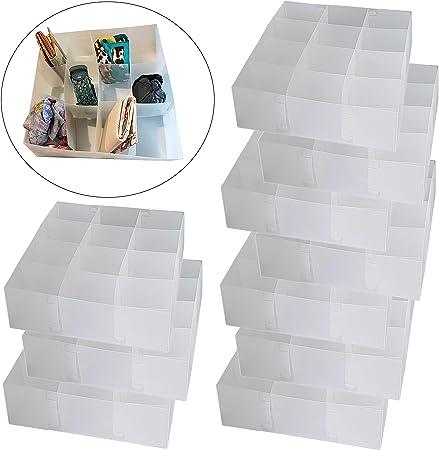 DynaSun PP51HA Juego de 10 Cajas Transparentes Multiusos, 12 Compartimentos, Organizador, Separador de cajones, Recipiente para Sujetadores, Ropa Interior, Calcetines: Amazon.es: Hogar
