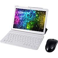 """Broken- jom Tableta Android 9.0 Pantalla de 10"""" Quad-Core RAM 4GB ROM 64GB Cámara WiFi GPS Tarjetas SIM Tablet Teléfono móvil Llamada 3G con ratón, teclado inalámbrico y estuche(Blanco)"""